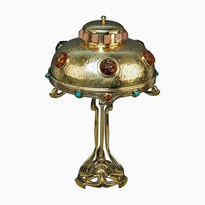 Brass Art Nouveau Table Lamp with Multi-Colored Glass Stones, 1900s
