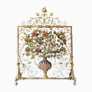 Pantalla de chimenea floral, década de 1880