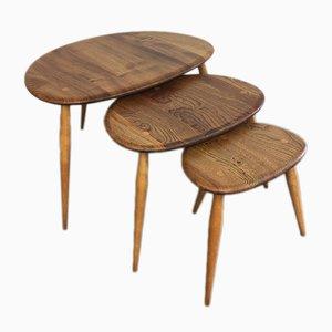 Tables Gigognes Vintage en Étain par Lucian Ercolani pour Ercol