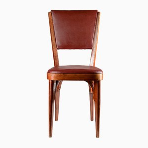 Italienischer Stuhl mit Kunstlederbezug in Bordeauxrot, 1950er