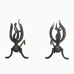 Neoclassical Wrought Iron and Bronze Andirons, 1940, Set of 2