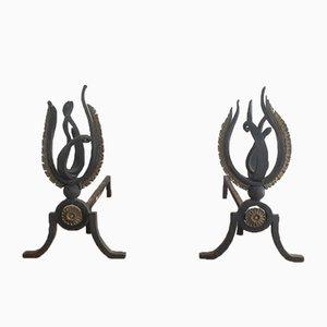 Neoklassizistische Feuerböcke aus Schmiedeeisen & Bronze, 1940, 2er Set