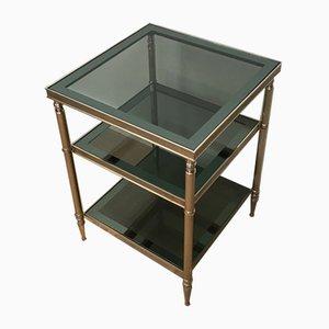 Mesas auxiliares plateadas con tableros de vidrio, años 40. Juego de 2
