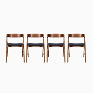 Mid-Century Teak Chairs by Henning Kjaernulf, 1950s, Set of 4
