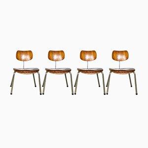 Sedie da pranzo SE68 in compensato di Egon Eiermann per Wilde+Spieth, anni '50, set di 4