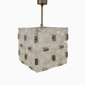 Lámpara colgante cuadrada de vidrio de Kamenický Šenov, años 70