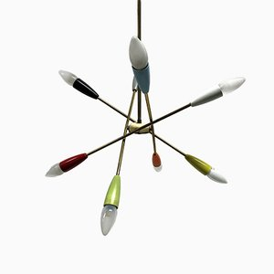 Vintage Multicolored Sputnik Chandelier from Stilnovo, 1950s