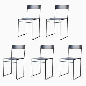 Brutalist Black Metal Chairs, Set of 5