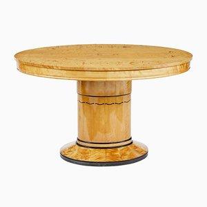 Ovaler Art Deco Tisch aus Birke mir Intarsie, 1920er