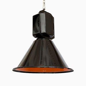 Lampada a sospensione industriale nera e arancione di Predom Mesko, 1966