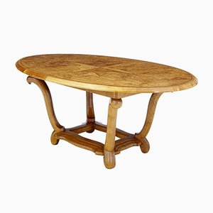 Art Deco Birch and Alder Root Oval Center Table