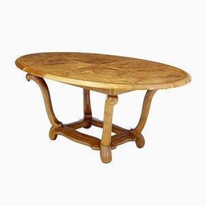 Ovaler Art Deco Tisch aus Birke & Erle