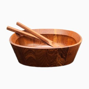 Teak Oval Salad Bowl and Servers by Jens Quistgaard for Dansk, 1950s