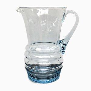 Art Deco Blue Glass Water Jug