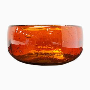 Amber Bubble Glass Bowl from Whitefriars, 1960s