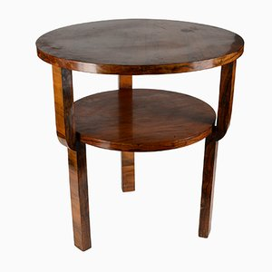Round Art Deco Walnut Coffee Table