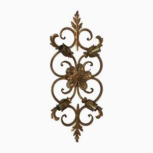 Geblümte goldene Vintage Wandlampen aus Metall, 2er Set