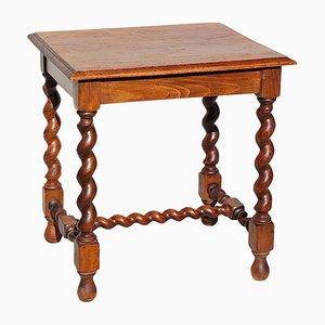 Table d'Appoint Vintage en Chêne avec Pieds Torsadés