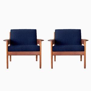 Personalisierbare Sessel von Arne Wahl Iversen für Komfort in Dunkelblau, 1960er, 2er Set