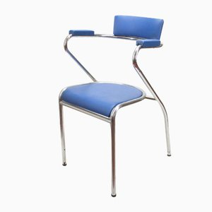 Italian Leatherette & Chromed Metal Chair, 1960s