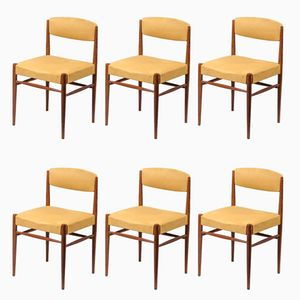 Danish Teak & Alcantara Chairs, 1960s, Set of 6