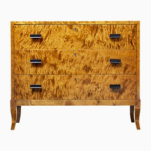 Mid-Century Swedish Burr Birch Chest of Drawers