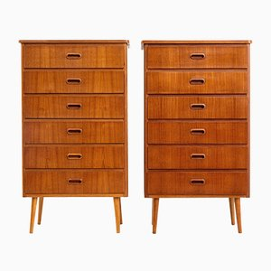 Scandinavian Teak Tallboys, 1970s, Set of 2
