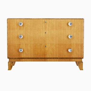 Scandinavian Elm & Birch Chest of Drawers, 1950s