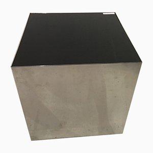 Italian Chrome & Glass Cube Table