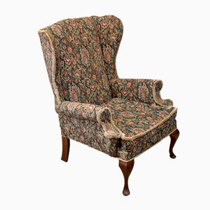 Vintage Floral Wingback Lounge Chair