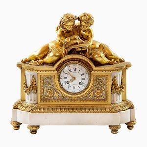Louis XVI Gilded Bronze & Marble Mantel Clock, 1850s