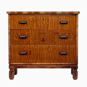 Vintage Birch Inlaid Chest of Drawers