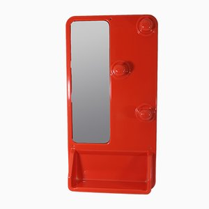 Attaccapanni vintage rosso con specchio