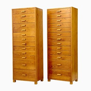Swedish Pine Tall Chest of Drawers, 1950s, Set of 2
