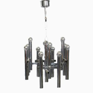 Vintage Chrome Chandelier by Gaetano Sciolari for Boulanger
