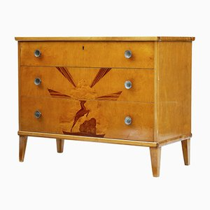 Swedish Art Deco Rosewood & Birch Inlaid Chest of Drawers