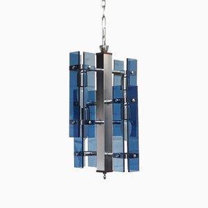 Lampe à Suspension Vintage en Cristal de Verre Murano Bleu, Italie