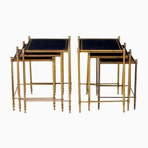 Tables Gigognes Vintage en Laiton & en Cuir, Set de 2