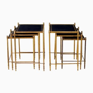 Vintage Brass & Leather Nesting Tables, Set of 2