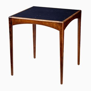 Danish Rosewood & Leather Side Table, 1950s