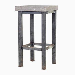 Tavolino Mid-Century in acciaio tubolare e marmo