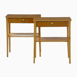 Birch Bedside Tables, 1960s, Set of 2