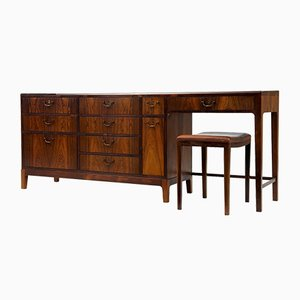 Large Danish Rosewood Dresser & Stool by Frode Holm, 1960s
