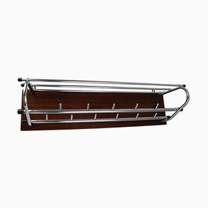 Vintage Chrome and Wood Coat Rack