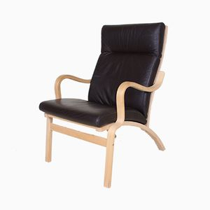 Vintage Danish Beech & Brown Leather Armchair