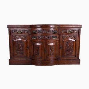Large Victorian Walnut Bowfront & Serpentine Credenza
