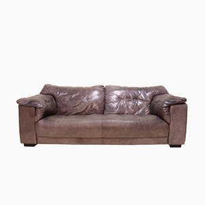 Vintage Gunmetal Grey Leather Two-Seater Sofa