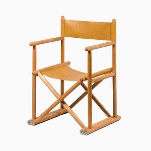 Chaise de Directeur Vintage en Hêtre et Cuir