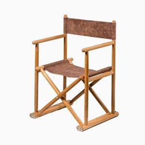 Chaise de Directeur Vintage en Hêtre et Cuir, France, 1960s