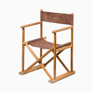 Vintage French Directors Chair in Beech and Leather, 1960s